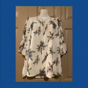 Summer floral woman's off the shoulder top plus